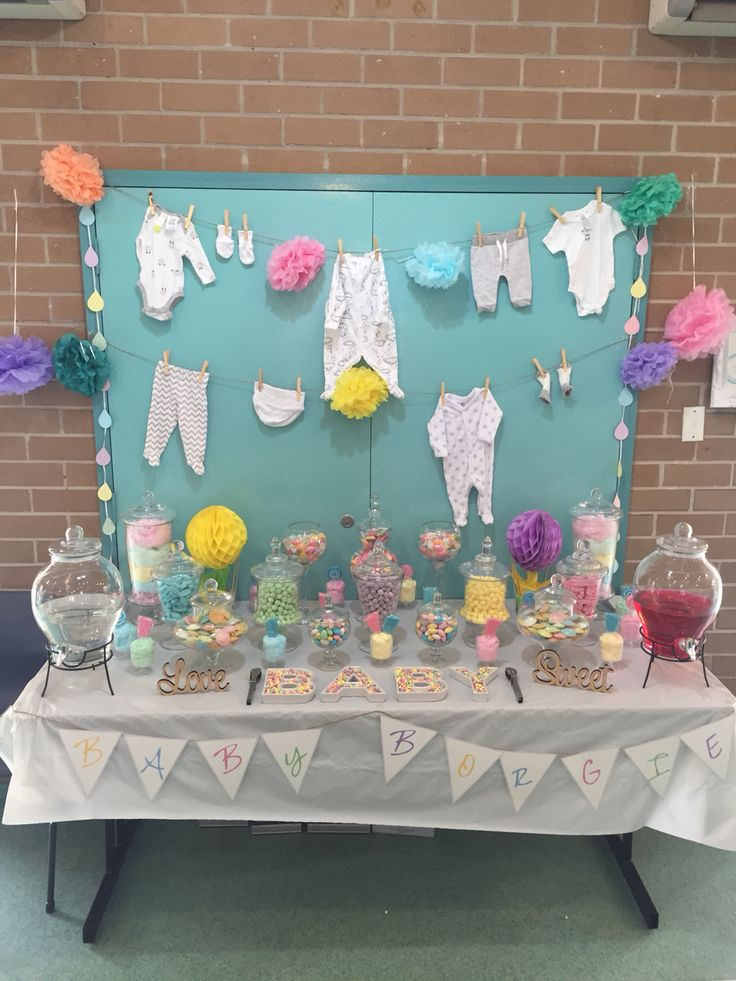 Baby shower pastels candy buffet