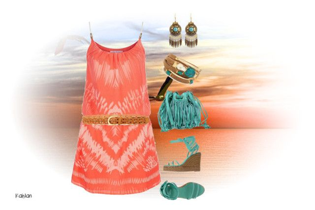 """""""Peach and turquoise color combination outfit"""" by thalia-salinas ❤ liked on Polyvore featuring Heidi Klein, Castañer, Mila Louise, Taylor and Tessier and Steve Madden"""