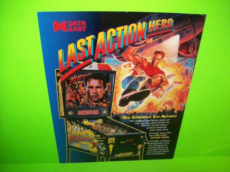 Data East LAST ACTION HERO Original 1993 Flipper Pinball Machine Sales Flyer   #DataEastLastActionHero