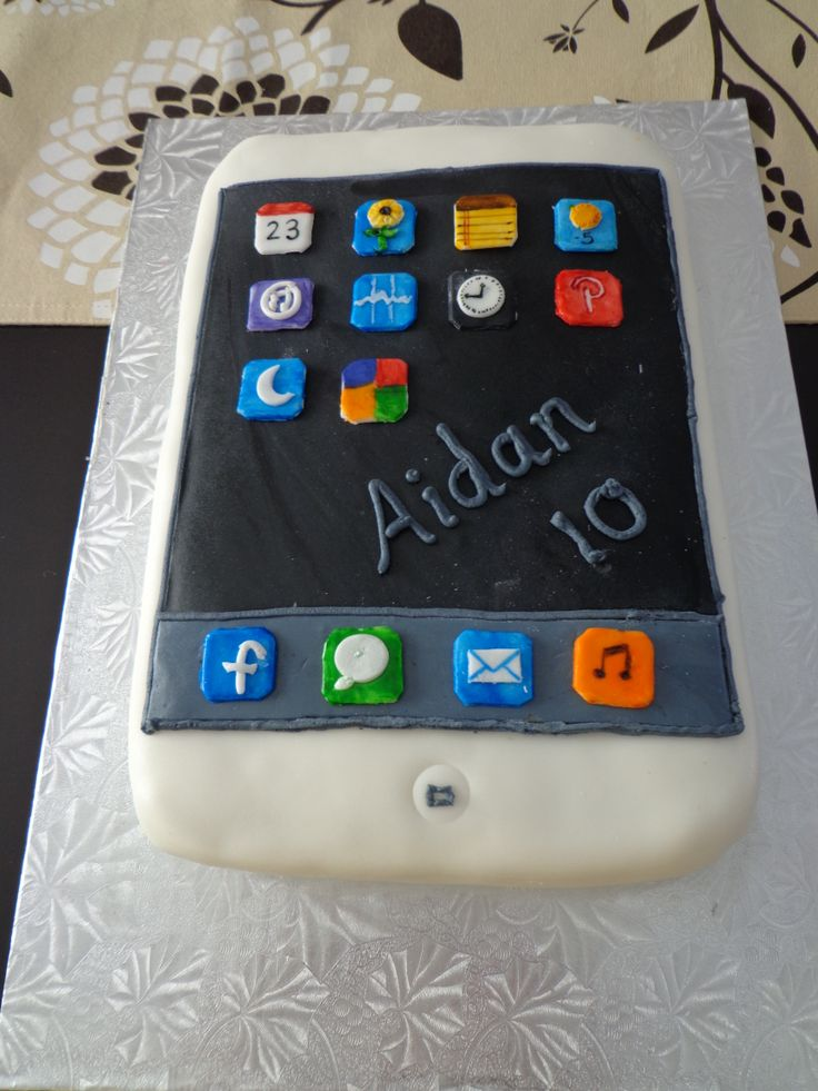 An Ipod touch cake with a vanilla blue cake inside. YUM!