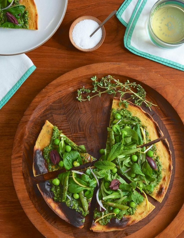 Socca Flatbread with Spring Pesto and Salad | The Kitchn: Spring Pesto, Salad Recipes, Food, Pizza, Green Recipes, Gorgeous Green, Socca Flatbread, Gluten Free