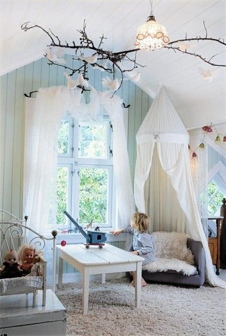 Would be cool to have the birds hanging from the ceiling like this when I add the clouds and stars! Maybe have this branch connected to the other tree?