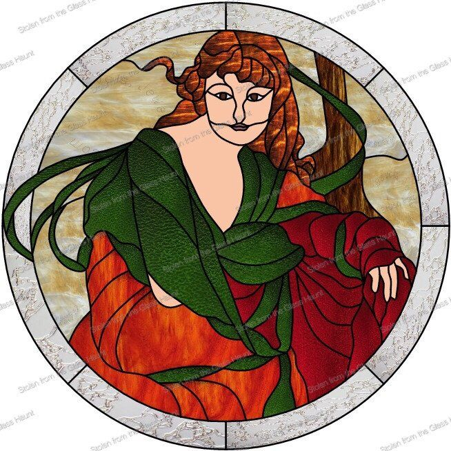 """Alphonse Mucha 10 October 24"""" Stained Glass Pattern. Artist Ruth Green."""