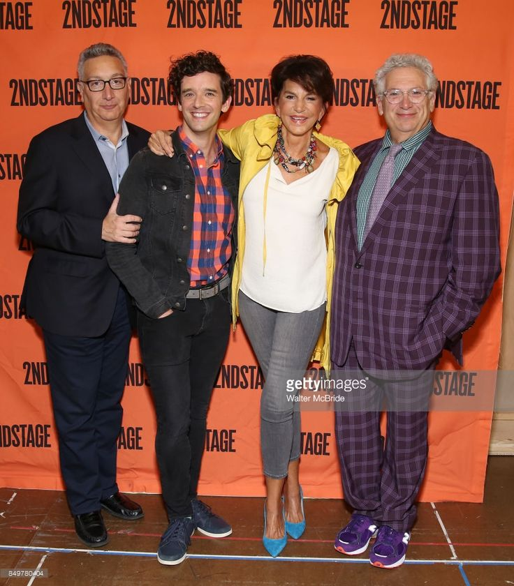 Moises Kaufman, Michael Urie, Merecedes Ruehl and Harvey Fierstein attend the Off-Broadway cast photo call for 'Torch Song' on September 19, 2017 at the Second Stage Rehearsal Studios in New York City.