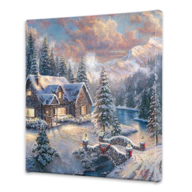"Thomas Kinkade ""High Country Christmas"" - 20 x 20 Gallery Wrapped Canvas"