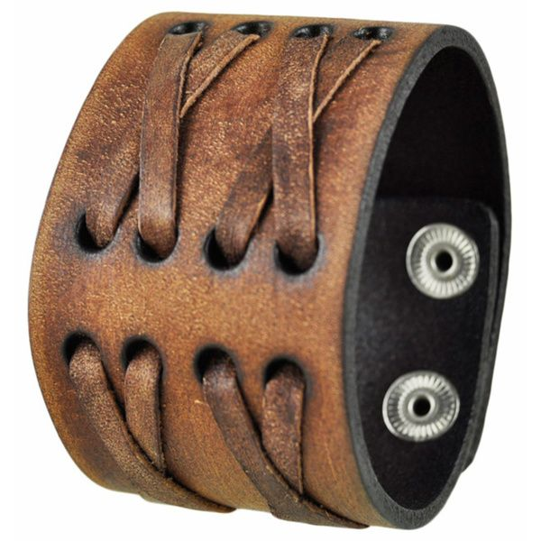 Nemesis Brushed Brown Wide X Crazy Horse Leather Cuff Bracelet Snap-on Band - Overstock™ Shopping - Big Discounts on Nemesis Leather Bracelets