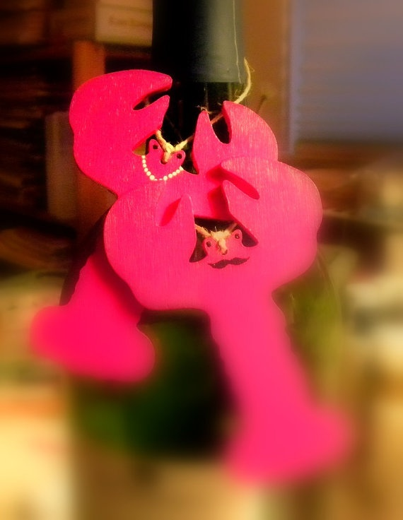 Wine Champagne Bottle Charm Valentine's Lobster by bethsCraftroom, $10.00