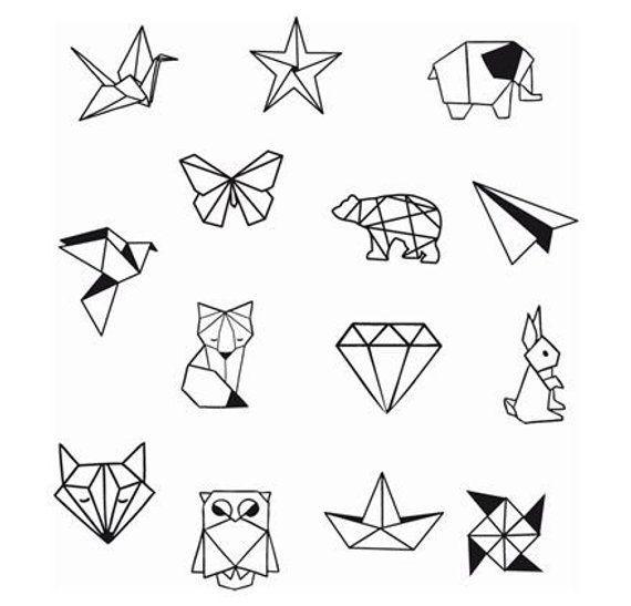 Geometrische Tier Diamond Shapes Knöchel Handgelenk temporäre Tätowierung – Knöchel Tattoo – Party Tattoo
