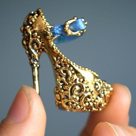 enchanted doll gold doll shoe