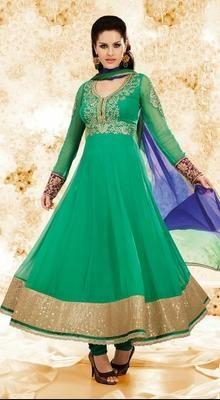Alluring Jade Green Chudidar Kameez