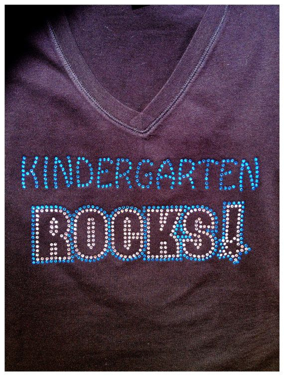 Rhinestone Bling Teacher Kindergarten ROCKS T Shirt- Custom Team, School, and Spirit Apparel