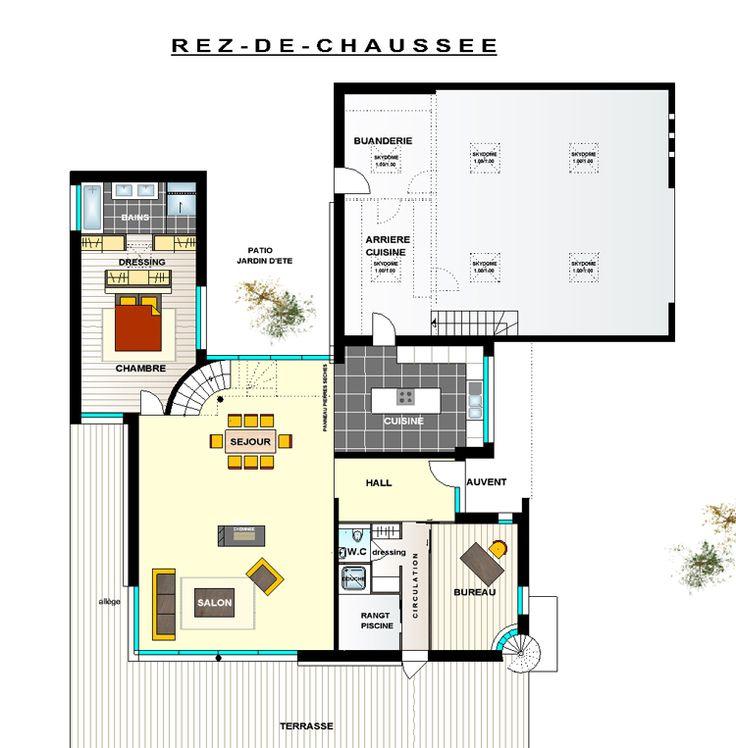 Plan maison contemporaine toit plat recherche google for Plan maison toit plat 150m2