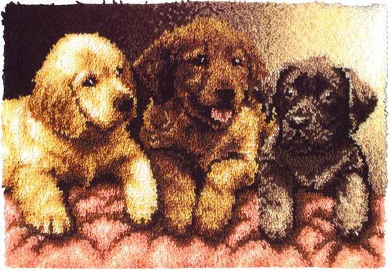Caron Wonderart Latch Hook Kit Lab Puppies Lab Puppies