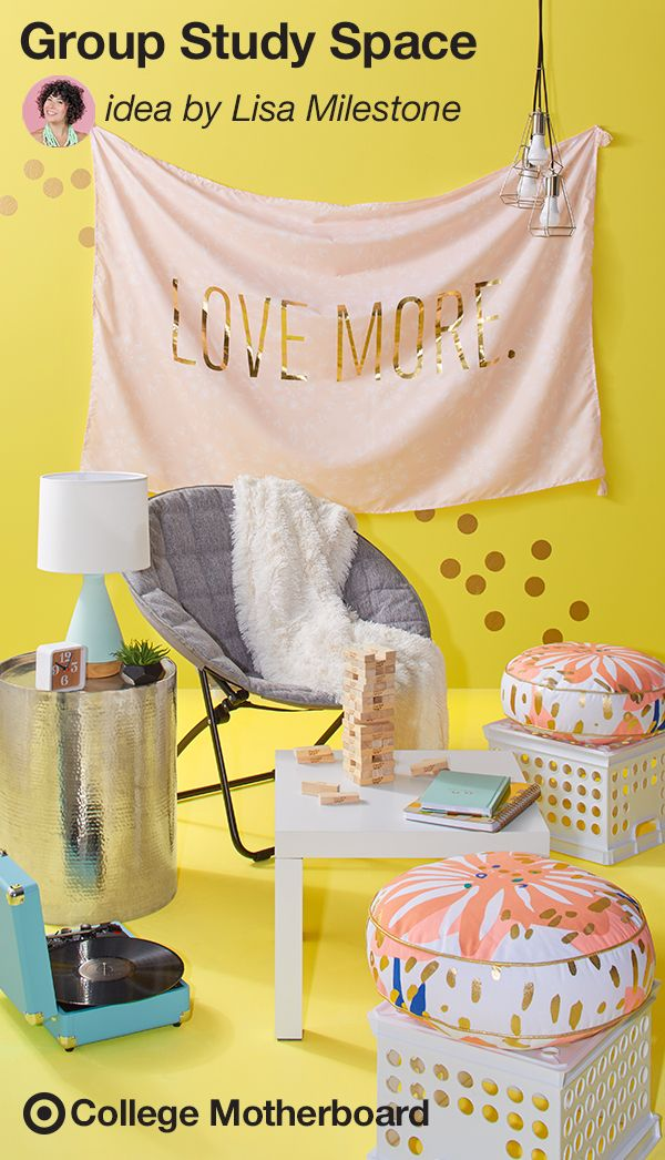"Every college student needs a stylish hangout space. Mom pinner, Lisa Milestone's take on small space entertaining is a perfect way to add a pop of color and personality to any dorm. We love Lisa's clever seating idea: ""Entertain friends with plush seating by turning milk crates into ottomans."" So easy and so cute. This pin was made by Moms, for Moms to make sending any student off to college easy, thanks to the On to College Motherboard."