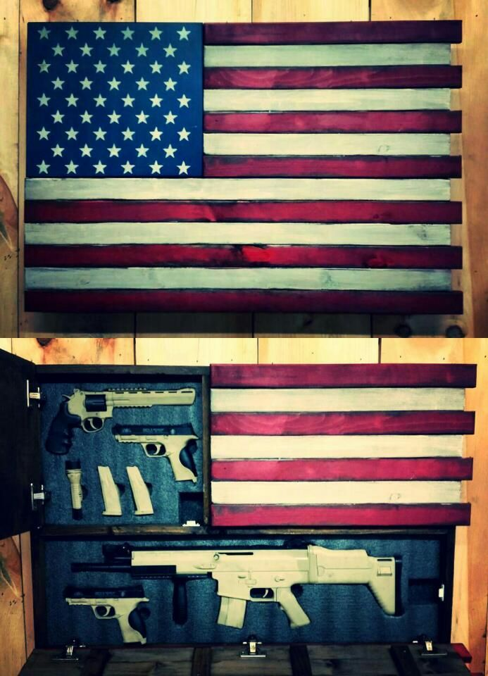 Deluxe Home Defense Concealment Flag Model Dual Handgun And Rifle Compartments Rough