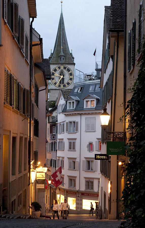 Clock tower and shops in the historic section of Zurich