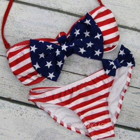 stars and stripes usa flag bikini bow top WANT @Sam McHardy McHardy McHardy McHardy Taylor Bugg LOVEEEE