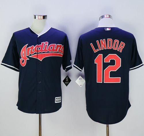 Indians #12 Francisco Lindor Navy Blue New Cool Base Stitched MLB Jersey