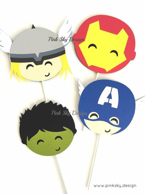 12 Avengers cupcake toppers Superhero por thepartyprojectshop                                                                                                                                                                                 Más
