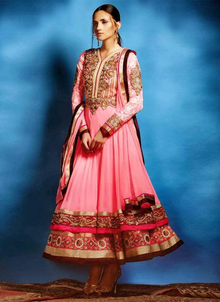 Stately #Georgette Layered #Anarkali Suit in light pink #designpunjabisuit #suitdesign  #punjabisuitdesings #suitdesigns #punjabisuitgirls
