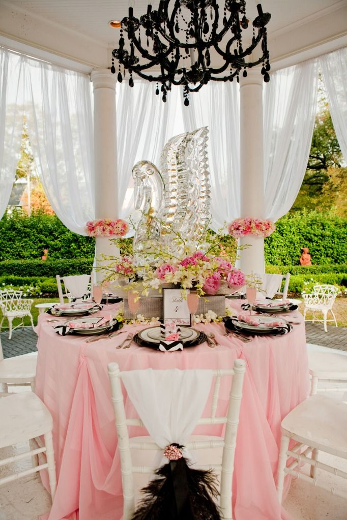 Tablescape swan lake theme with ice