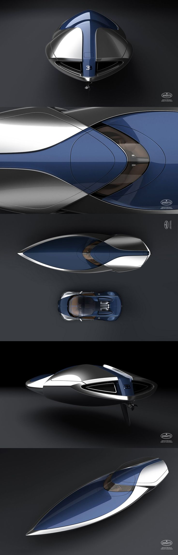 """Bugatti speedboat design inspired by """"Sang-Bleu"""" colored Bugatti Veyron. The conceptual boat has a W16 Quad Turbo 1000HP engine.     - designed by Ben Walsh"""