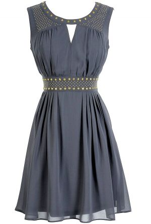 Gold Studded Chiffon Dress in Grey
