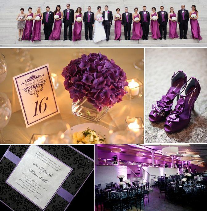 purple black winter wedding colors themes