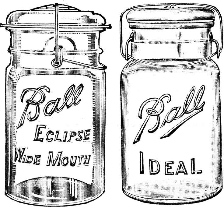 vintage Ball mason jars free printable