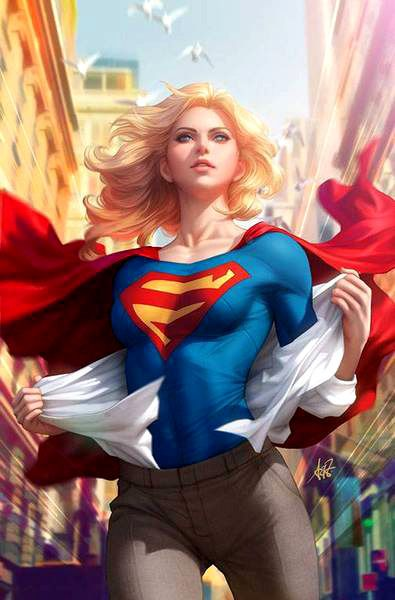 I'll admit a lot of supergirl art does feel... well kind of pin-up`ish border line degrading.  I love pin-up art but some how supergirl art just comes off feeling not some much eat your heart out sexy but more like a pretty little background trophy. But this one feels like a touch of pin-up goddess about got go war god on your sorry ass.