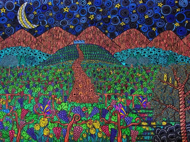 Seña, vineyard, viñedo, uvas, grapes, color, arte, art, dibujo, illustration, moon, luna, aconcagua, biodinamica