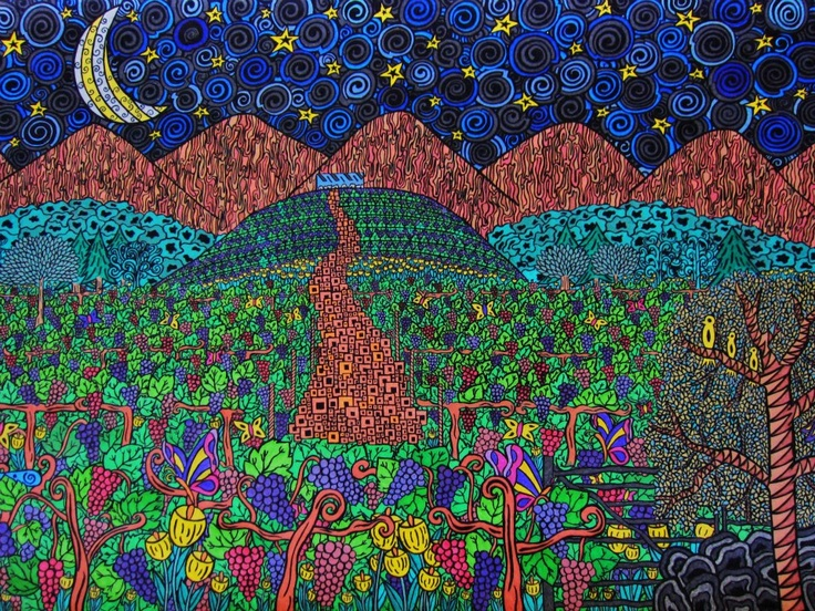 Seña, vineyard, viñedo, uvas, grapes, color, arte, art, dibujo, illustration, moon, luna, aconcagua, biodinamica