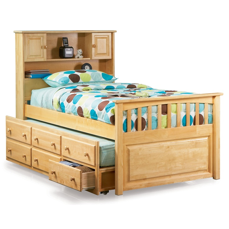 Captain 39 s bookcase headboard trundle bed atlantic for Bookshelf bed headboard