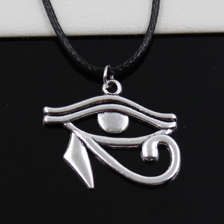 Yeni moda tibet gümüş kolye antik mısır göz horus kolye choker siyah deri kordon fabrika fiyat el yapımı jewlery