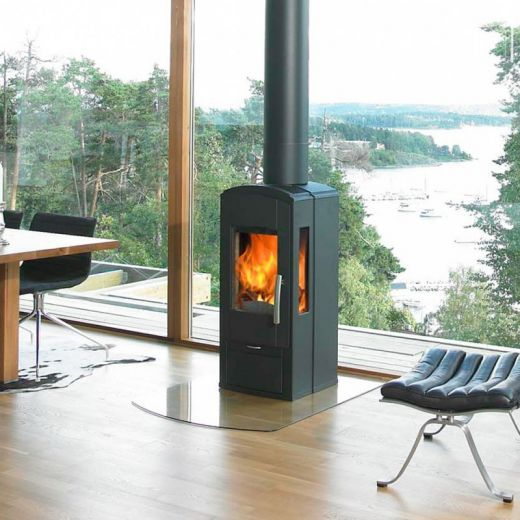 Wood burning stove in front of window