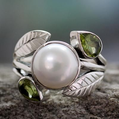 Pearl and Peridot Cocktail Ring from India Jewelry - Mumbai Romance | NOVICA