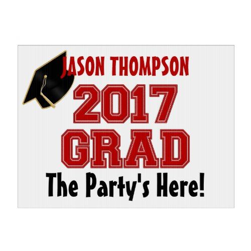 2017 Grad, Red-White-Custom Yard Sign, Med. Lawn Sign