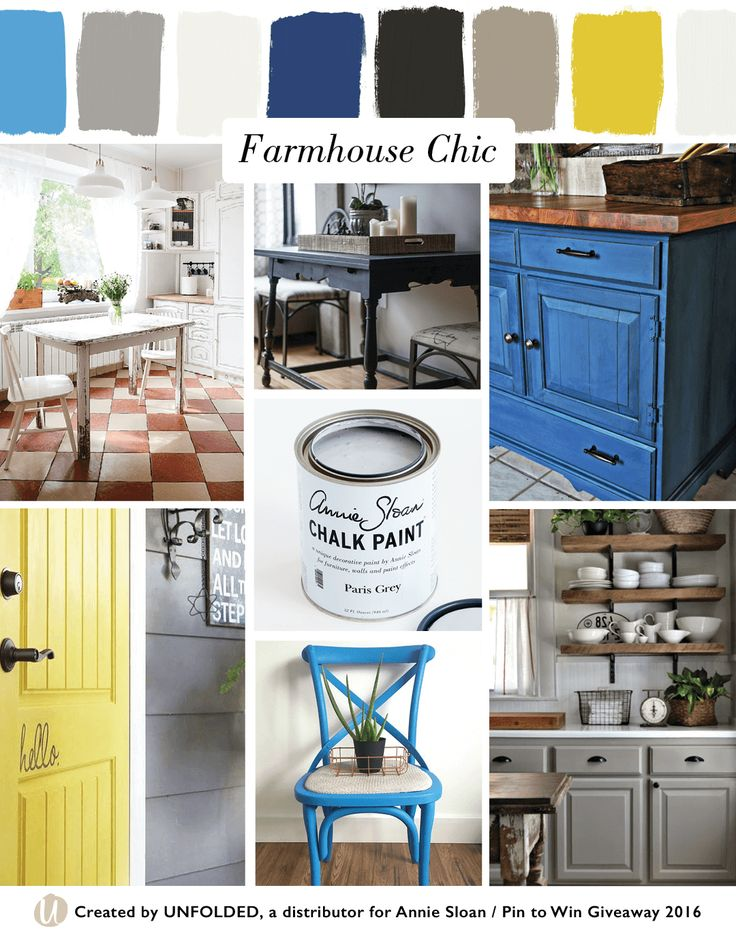 Farmhouse Chic Style Moodboard | Left top: Old White Chalk Paint® via Heart Home Magazine, Left bottom: English Yellow Chalk Paint® by Fig & Frolic,  Center top: Graphite Chalk Paint® by Lia Griffith, Center middle: Chalk Paint® decorative paint by Annie Sloan in Paris Grey, Center bottom: Giverny Chalk Paint® by by Carte Blanche, Right top: Napoleonic Blue Chalk Paint® by Whimsical Perspective, Right bottom: French Linen Chalk Paint® by Annie Sloan by Our Vintage Home Love