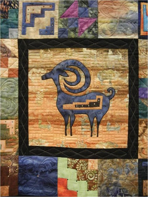 """close up, """"Echoes of the Past / South West Echoes"""" by Norma Suckle.  Arizona Quilters' Guild 2013 Show, photo by Quilt Inspiration"""