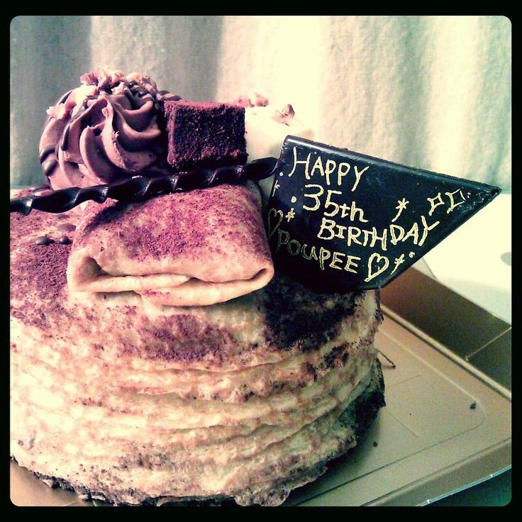 Chocolate Banana Crepe Cake with HBD message choco plate.