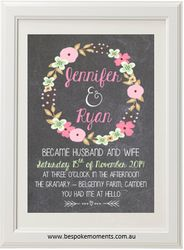 Chalk Floral Garland Wedding Print by Bespoke Moments. Worldwide Shipping Available.