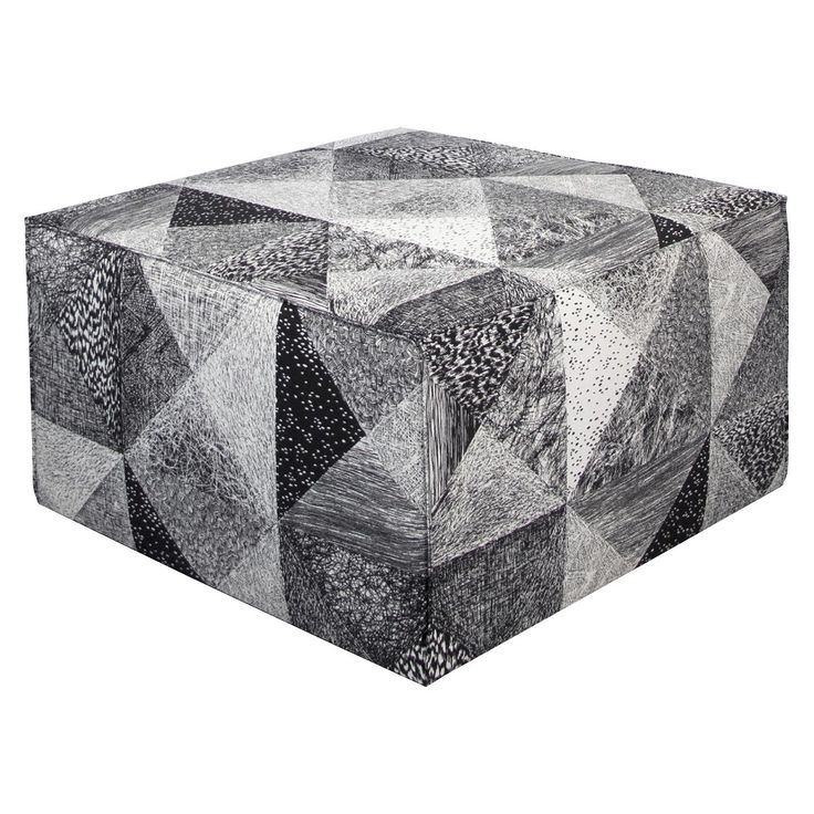 Beautiful stylish ottoman made using Vallila's Sintra black and white geometric fabric. Fabric available exclusively in NZ from Harvey Furnishings http://www.harveyfurnishings.co.nz/sintra-black-white-fabric
