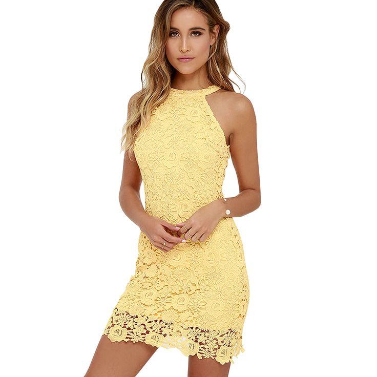 セクシーなパーティーストレートvestidosデノビア女の子黄色ミニスカートプラスサイズ女性レースカクテルドレス2016短い無料shippping