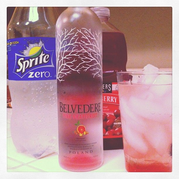 Refreshing Summer Cocktail  1 part Belvedere Pink Grapefruit Vodka, 2 parts Sprite Zero and a splash of cranberry juice.
