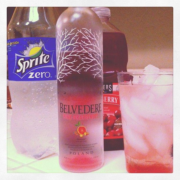 Refreshing Summer Cocktail  1 part Belvedere Pink Grapefruit Vodka, 2 parts Sprite Zero and a splash of cranberry juice.