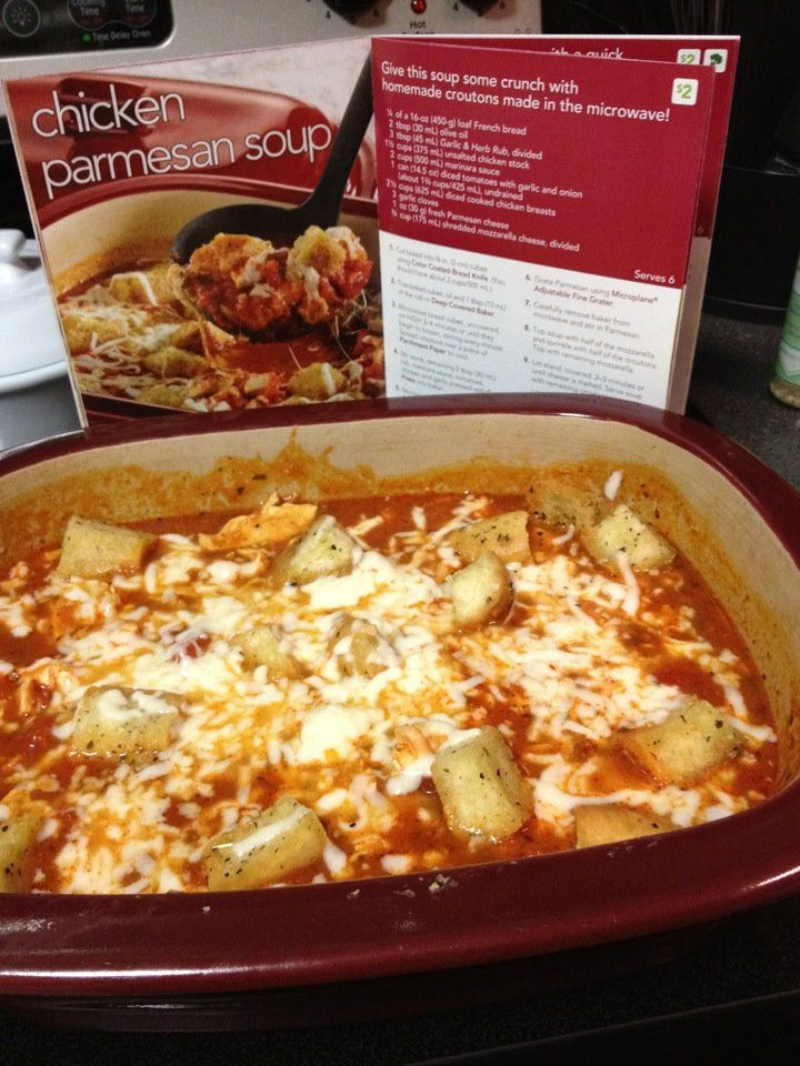 Chicken Parm soup!    pampered chef recipe - its truly delish...and I used the Deep Covered Baker from start to finish!  www.pamperedchef.biz/elisasgoodies
