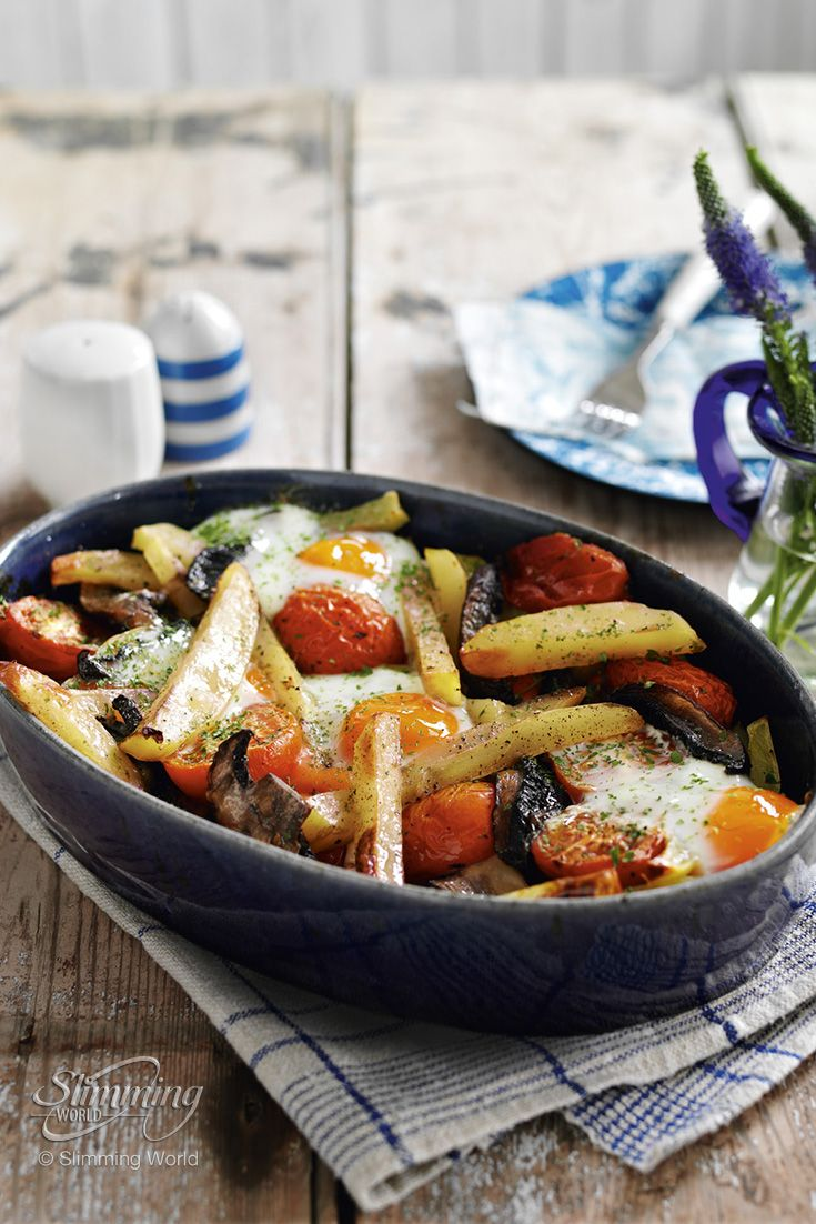 The addition of juicy plum tomatoes and Portobello mushrooms turns this healthy potato bake into posh 'egg and chips'.   http://www.slimmingworld.co.uk/recipes/egg-tomato-and-mushroom-chip-bake.aspx