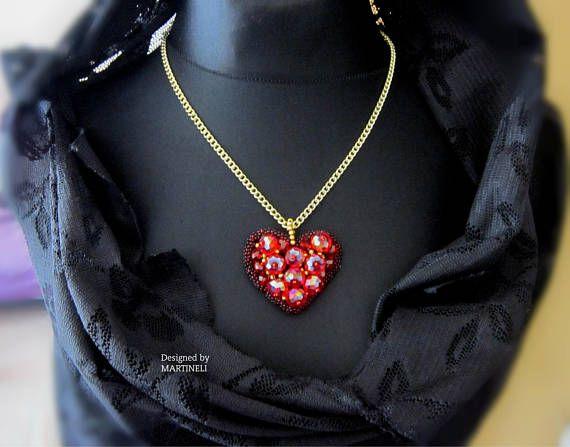 Red Heart Necklace Swarovski Red Boho Beaded Necklace Big