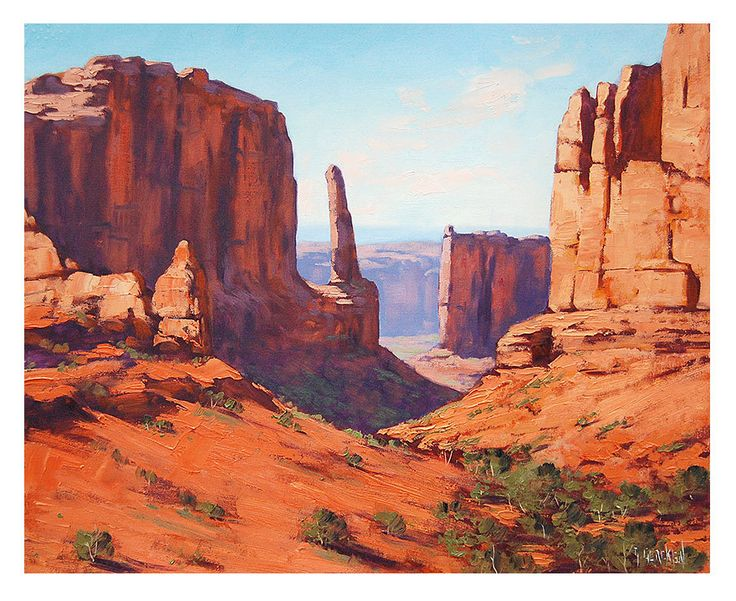 RED CANYON PAINTING commissioned American desert landscape fine art Utah art  by G  Gercken.