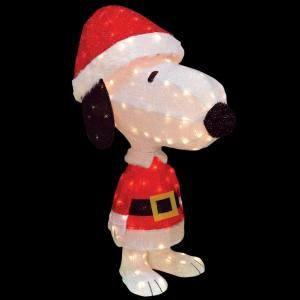 Peanuts 42 in 3d soft tinsel xl santa snoopy model for Animated tinsel dinosaur christmas decoration